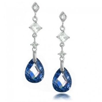 Bling Jewelry Faceted Blue Sapphire Color Teardrop CZ Sterling Silver Earrings | Bling Jewelry