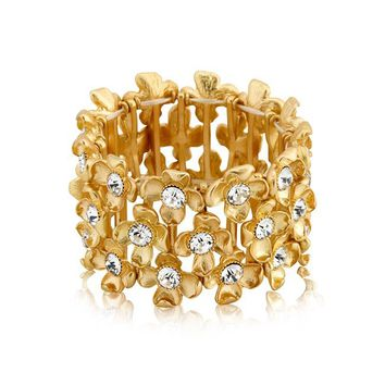 Mothers Day Gifts Matte Gold Plated Flower Stretch Bracelet Wide Clear Crystal | Bling Jewelry