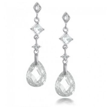 Bling Jewelry Sterling Silver Faceted Clear Teardrop CZ Earrings | Bling Jewelry