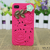 three-dimensional red flower  Case Cover for iPhone 4gs/4s by fashioncase