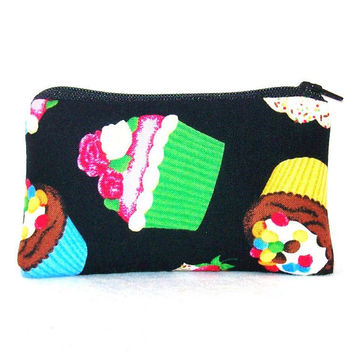 "I Love Cupcakes on Black Cotton Padded Pipe Pouch 5.5"" / Glass Pipe Case / Spoon Cozy / Piece Protector / Pipe Bag / SMALL"