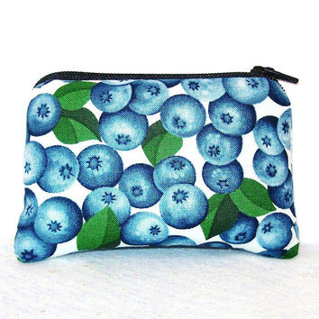 "Fresh Blueberries Cotton Padded Pipe Pouch 4"" / Glass Pipe Case / Spoon Cozy / Piece Protector / Pipe Bag / MINI"