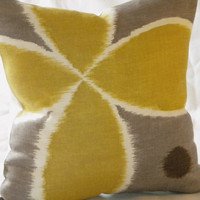 Ikat and pewter pillow cover