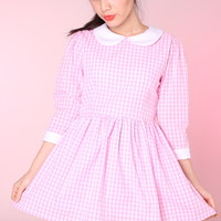 Glitters For Dinner — Made To Order - Caroline Baby Doll Dress in Pink Gingham