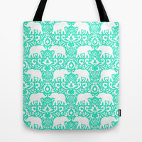 Elephant Damask Mint Tote Bag by Jacqueline Maldonado
