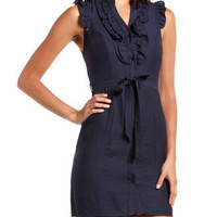 Charlotte Russe - Woven Ruffle-Front Shirt Dress