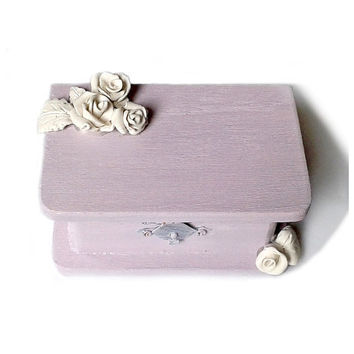 Purple RING BOX white Rose Wedding ring Box with Pillow handmade unique   roses ring box, Ring Bearer Box with Pillow, Wedding box, Ring box