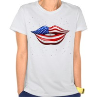 USA Flag Lipstick on Smiling Lips T-Shirt