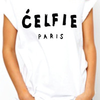 Celfie Paris. Rolled sleeves women Tshirt. Selfie Celfie  Tee. Junior T-shirt. Cool top. White and Black. Trendy on Instagram Facebook