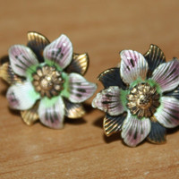 Antique Enamel Pansy Flower Sterling Earrings by patwatty on Etsy