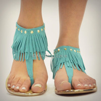 Indian Summer Mint Fringe Ankle Sandals Suede