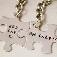 Her One His Only Keychains - Puzzle Piece Key Chains - Hand Stamped Couples Gift - 2 Keychains -  Stainless Steel