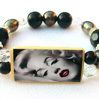Marilyn Monroe Bamboo Tile Bracelet Black & by thebagladyboutique1