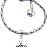 "Bracelet for Pandora Beads and charms by GlitZ JewelZ © - Silver plated - Size 8 1/4"" (21cms) - comes with a 12MM (1/2"") puff heart charm - fits all pandora / troll / chamilia beads - shines lovely"