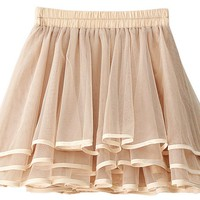 Womens Solid Lace Chiffon Short Skirt