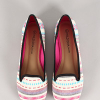 Wild Diva Lounge Starla-199 Striped Round Toe Loafer Flat