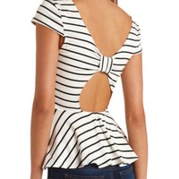 STRIPED BOW-BACK PEPLUM TOP