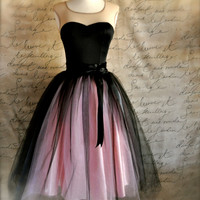 Black and pink  tutu skirt for women.  Ballet glamour. Retro look tulle skirt.