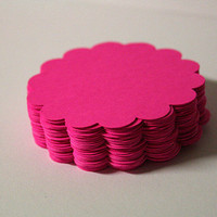 50  BRIGHT PINK 225 inches Scalloped Circles by BayleafButtons