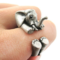 PRE ORDER: 3D Realistic Baby Elephant Animal Wrap Around Ring in Silver | US Sizes 5 to 8.5 -