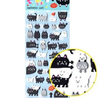 Black and White Kitty Cat Animal Themed Puffy Stickers for Scrapbooking and Decorating