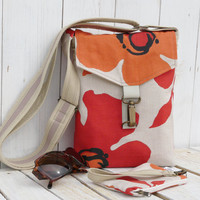 canvas cross body bag red orange floral adjustable strap small tote bag and mini clutch