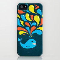 Dark Colorful Happy Cartoon Whale iPhone & iPod Case by Boriana Giormova
