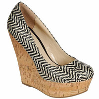Black ZigZag Straw Platform Wedge Heels