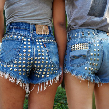 Levi High waisted shorts studded denim Hipster clothing by Jeansonly
