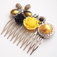 glamasaurus ♥Kawaii Cute Sweet Jewelry + Accessories ♥ — Golden Black Formal Butterfly Hair Comb - Prom Bridesmaids