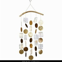 Capiz Shell Windchime ~ Brown Orange Natural