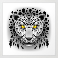 White Leopard with Yellow Eyes Art Print by Bluedarkat Lem