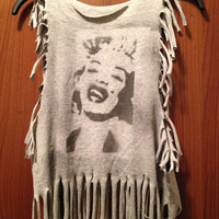 Marilyn Monroe Silhouette Fringed Tee by MoleekOnes on Etsy