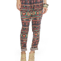 Zapoteca Navy Blue Print Harem Pants