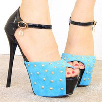 Wholesale Color matching PU waterproof increased thin heel sandals CZ-0789 blue - Lovely Fashion