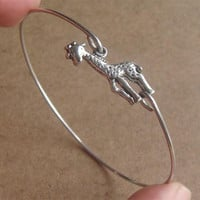 Giraffe Bangle Bracelet Simple Everyday Jewelry by silverglory