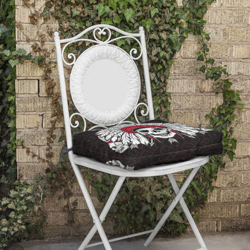 Chobopop Geometric Indian Skull Outdoor Seat Cushion