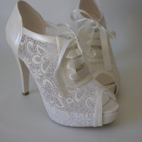 Lace Bridal Wedding pear white  shoes 8445   with my gift dance booties.