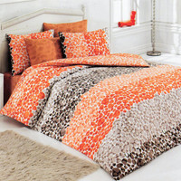 Custom Queen or Full Size Orange, Cinnamon, Pumpkin, Brown Pebble Stone Print Duvet Cover Set, Fall Colors,3 pieces