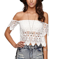 LA Hearts Off Shoulder Crochet Top - Womens Shirts - White -