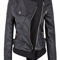 Sheinside Black Zipper Embellished Faux Leather Biker Jacket