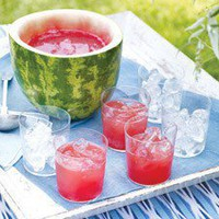 Watermelon punch and bowl.