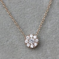 MagicPieces Micropave Setting of AAA Quality White Clear CZ Stones Thin Chain Full Pave Cluster Setting 9 in One Necklace Short Collarbone Necklace Wish Necklace 18K Gold Plated Gift for Her JDP0516