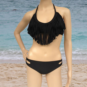 black ( 6 colors ) 2PC V neck Tassel Padded Bandeau Fringe Bikini Beach Women Swimsuit Swimwear set