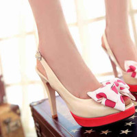 Wholesale 2012 gentle woman bowknot waterproof increased high heel wedding peep toe sandals Z-XS168 rice - Lovely Fashion