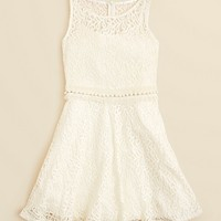 Un Deux Trois Girls' Crochet Lace Dress with Pearl Trim - Sizes 7-16