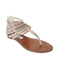 SteveMadden - SIMPLE-L PEWTER MULTI SANDLE women's sandal flat t-strap