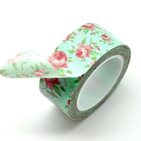 Washi Tape Paper Masking Tape - Pastel green Red Roses