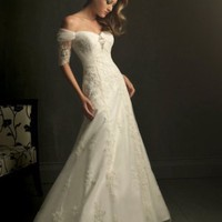 A-Line Off-the-shoulder Crystal Satin Chapel Train Wedding Dress at Dresseshop