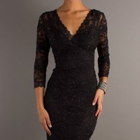 Sheath/Column V-Neck Black Sequin Short/Mini Dress at Dresseshop